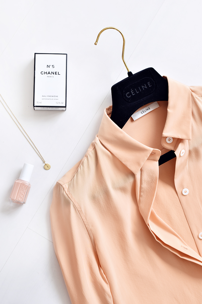 celine-paris-silk-blouse-chanel-no5-essie-irene-van-guin-fashion-blog-flatlay-inspiration-pink-blush-coral